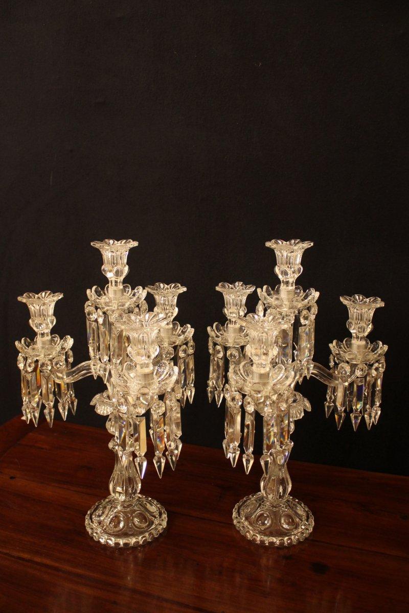 Paire De Candélabres à Quatre Feux En Cristal De Baccarat