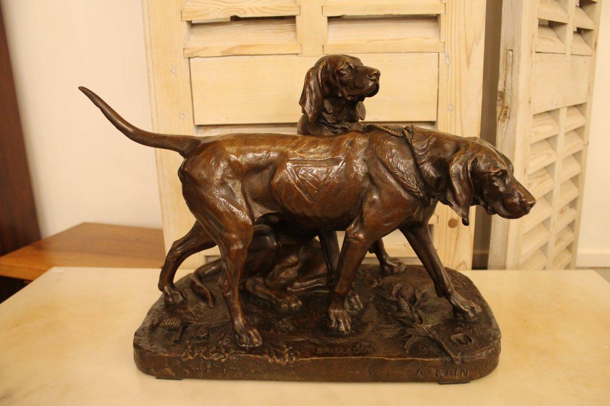 Chiens De Meutes Brillador Et Fanfaron, Bronze d'Auguste Cain (1821-1894), Fonte Susse