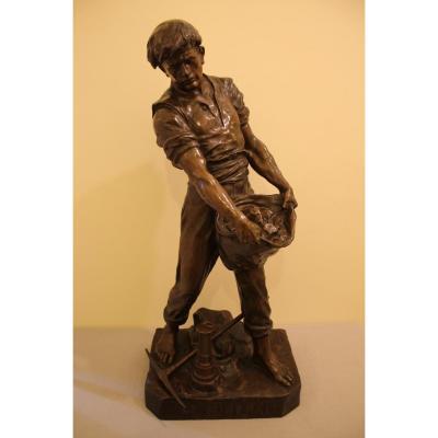 """""""Le Minerai"""" grande sculpture en bronze de Emile Louis PICAULT"""