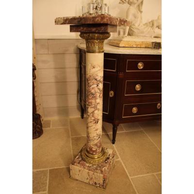 Colonne En Marbre Brèche Violette Et Bronze, XIXème Siècle