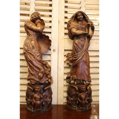 Paire De Sculptures en chêne, Allégories Des Saisons