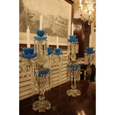 Important Pair Of Candlesticks In Crystal And Opaline, Charles X Period