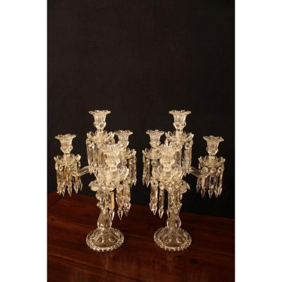 Pair Of Candelabra With Four Baccarat Crystal Lights
