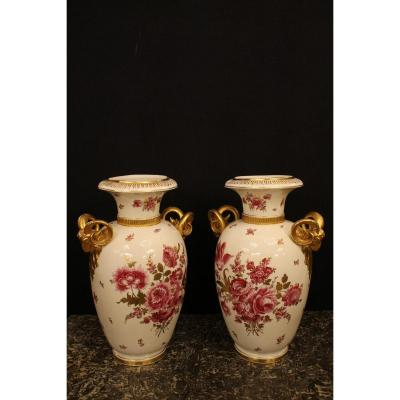 Importante Paire De Vases En Porcelaine De Saxe