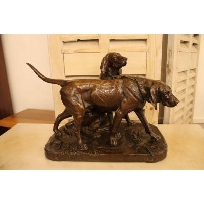 Brillador And Fanfaron Pack Dogs, Bronze By Auguste Cain (1821-1894), Fonte Susse