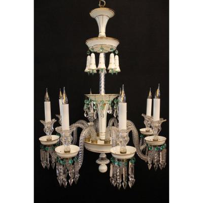 Baccarat – Lustre à 8 Lumières En Cristal Et Opaline, Fin Du XIXème Siècle