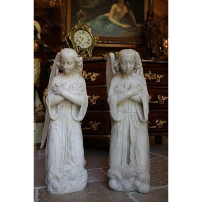 Deux Anges Adorateurs En Marbre De Carrare, époque XIXème Siècle
