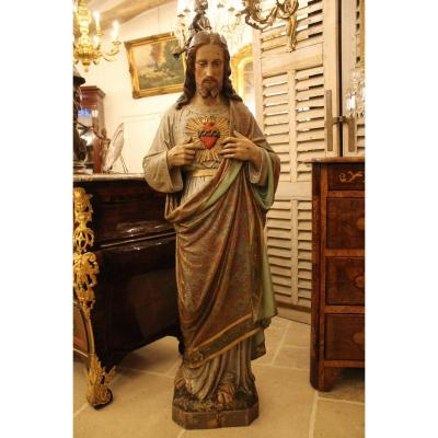 Large Statue Of The Sacred Heart Of Jesus In Polychrome Wood, Mid XIXth Century