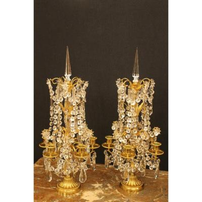Pair Of Girandoles With Five Lights In Bronze And Baccarat Crystal, Napoleon III Period
