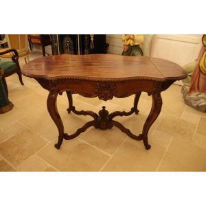 Louis XV Rocaille Style Mahogany Office Table, Napoleon III Period