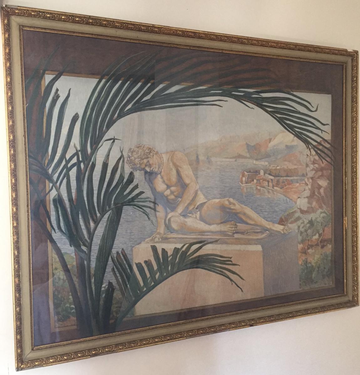 Aquarelle Galate Blessé Italie Signée Arnold Bornhauser école Alsacienne