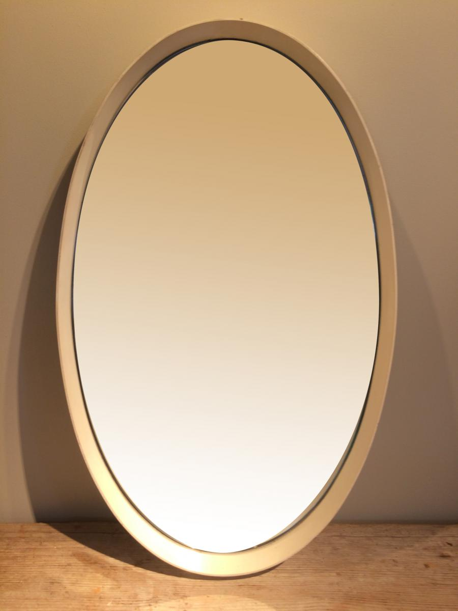 Large White Oval 70s Mirror