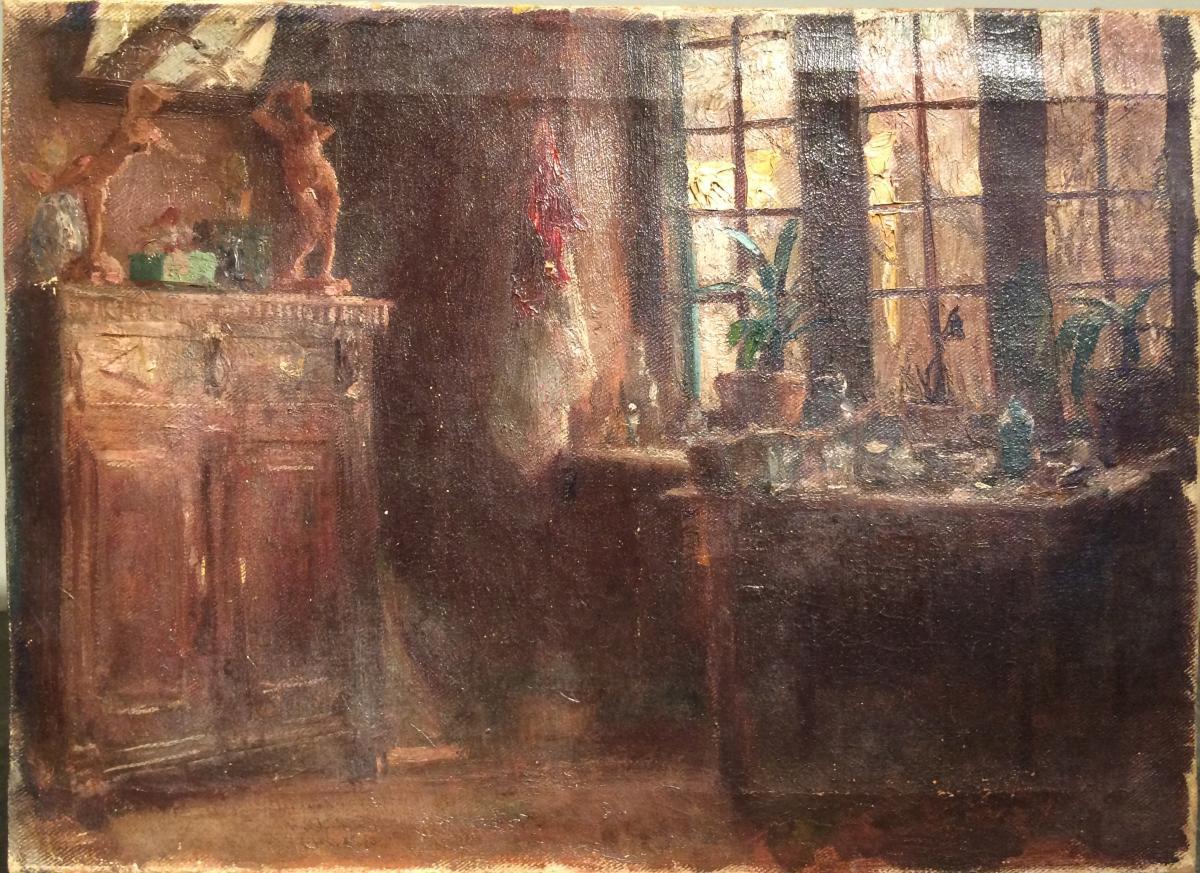 Huile Sur Toile Fin XIXème Intérieur De Salon Ou Atelier Aux Sculptures Et Plantes