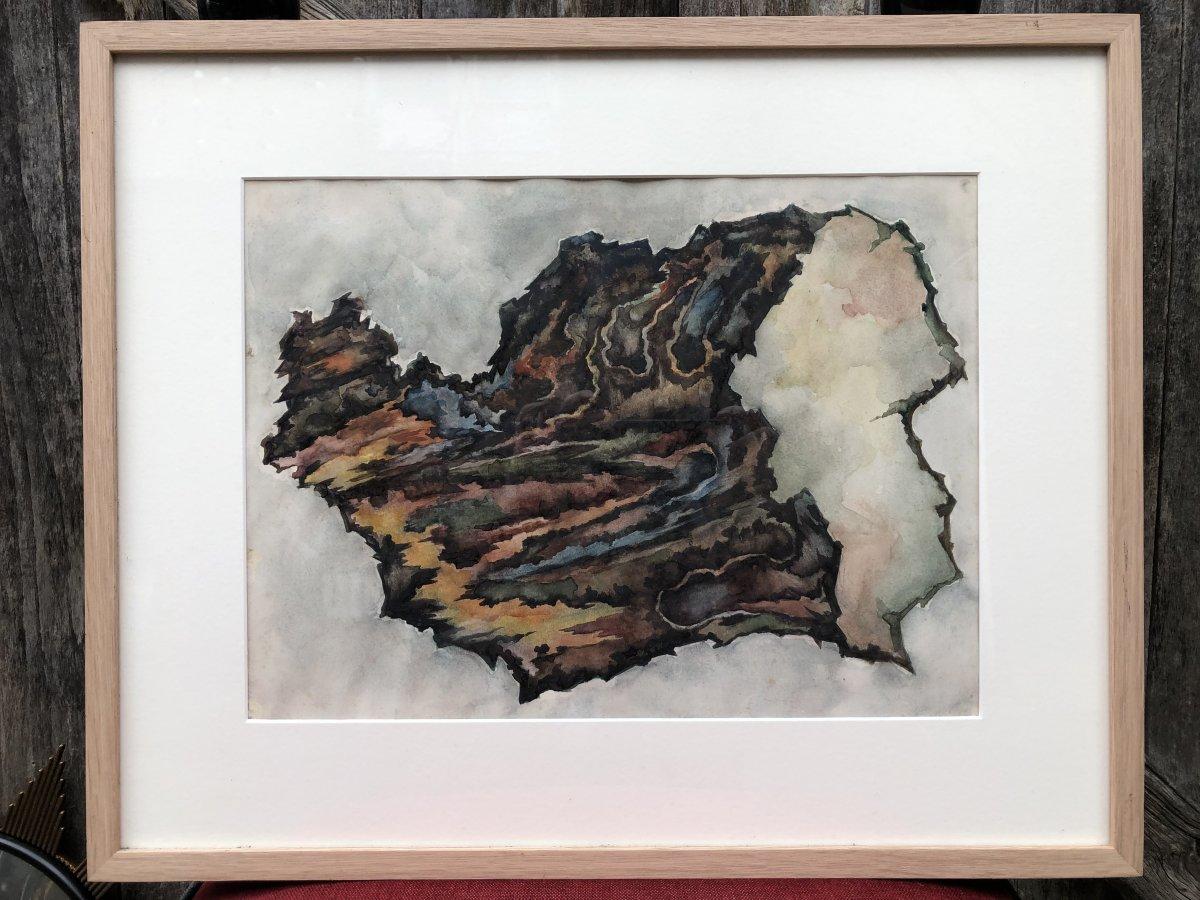 Dessin Abstrait à l'Aquarelle - Années 50 - Abstraction-photo-2