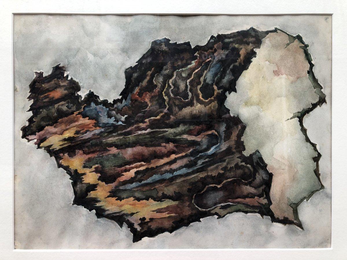 Dessin Abstrait à l'Aquarelle - Années 50 - Abstraction