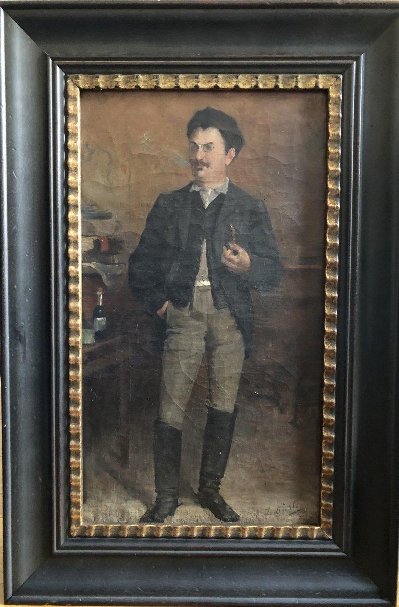 Louis Hierle (1856-1906) - Portrait Of A Russian Man In La Chapka-photo-2