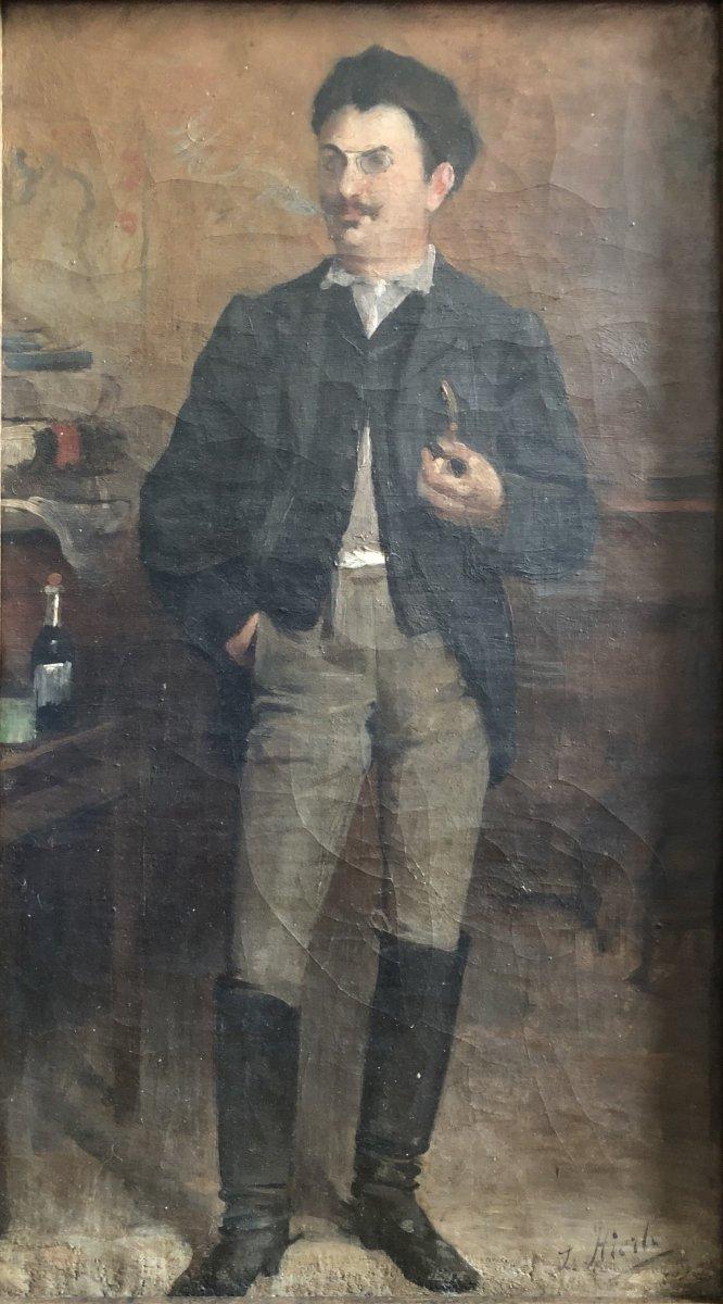 Louis Hierle (1856-1906) - Portrait Of A Russian Man In La Chapka