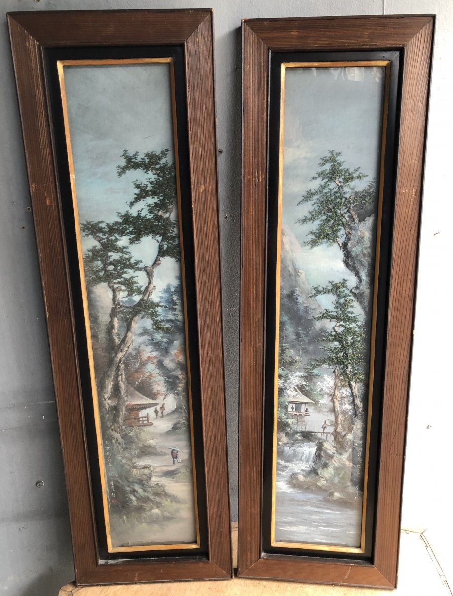 Paire De Tableaux Chinois - Vers 1920 - Paysages De Chine