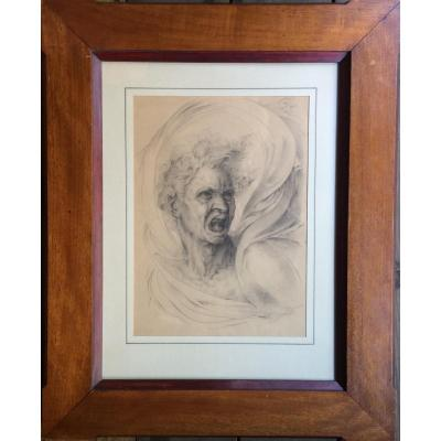 Drawing Signed And Dated 1860 After Michelangelo Anima Dannata Italy