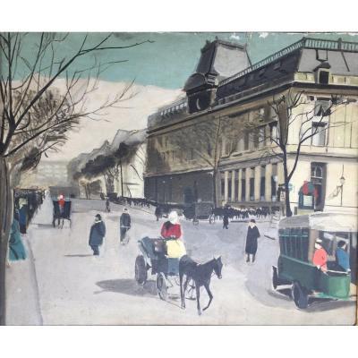 Huile Sur Toile - Vue De Paris - Années 40