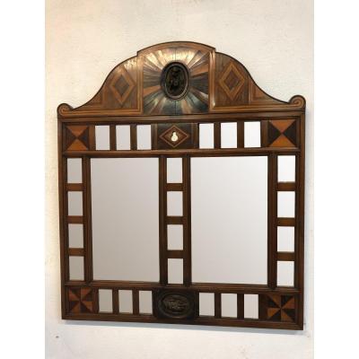 Ancien Miroir début XXème En Marqueterie - Hollande Ou Italie