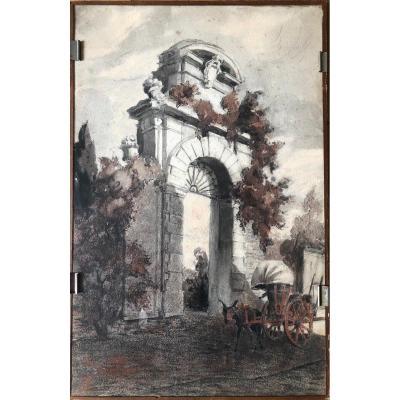 Dessin - Crayon Gras - Porte De Villa à Rome - Italie 1922