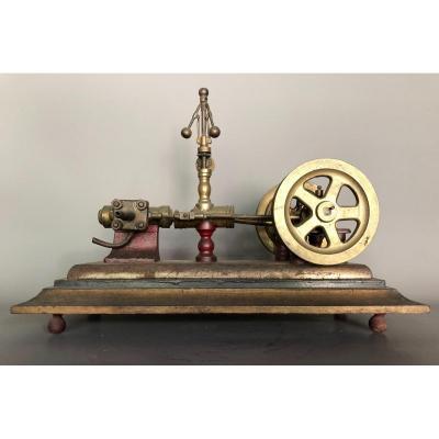 Maquette Machine à Pomper - Laiton Et Bronze - Objet De Maîtrise - XXème Vapeur