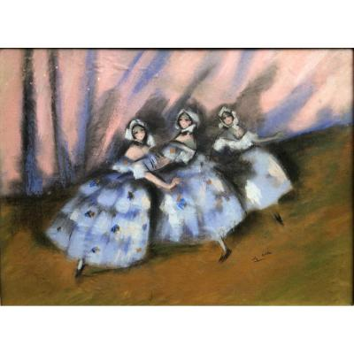 Charles Gir (1883-1941) - The Dancers Of The Opera - Pastel Drawing