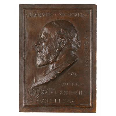 "Van Der Stappen, Charles - ""jacques Wiener"" Bas-relief, 1887"