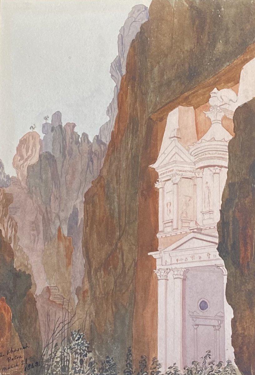 La Khazneh - Pétra - Aquarelle - 1863