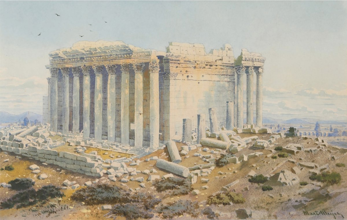 Martin Meyer (1821-1897) The Temple Of Bacchus At Baalbek In Lebanon