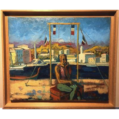 Maurice-georges Poncelet Oil On Canvas Port Vendres