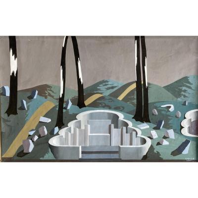 Felix Labisse (1905-1982) - Surrealist Landscape - Gouache