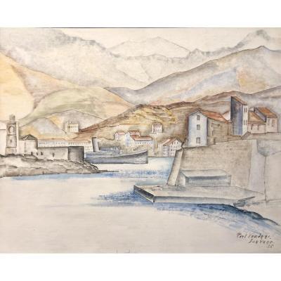 Léopold Survage - Port Vendres - Caséine Sur Panneau - 1925