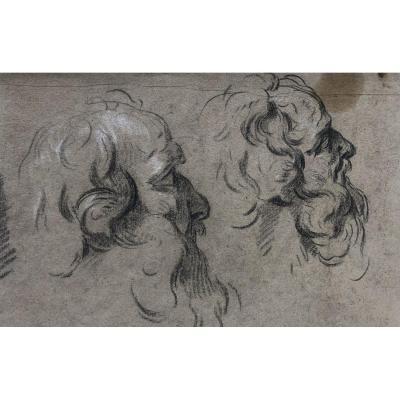 Ecole Française XVIIIème - Etude de têtes