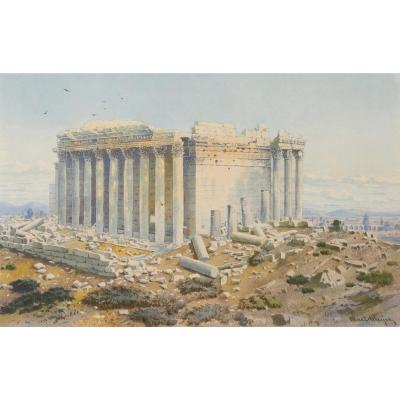 Martin Meyer (1821-1897) The Temple Of Bacchus At Baalbek In Lebanon