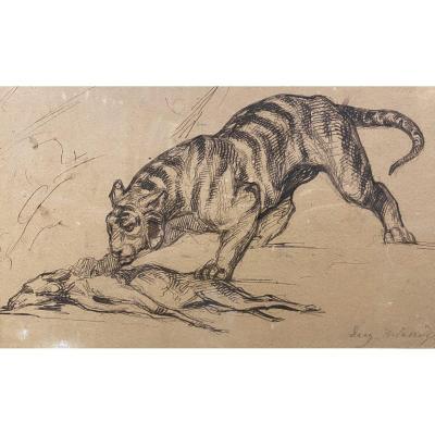 Eugène Delacroix (attribué à) - Dessin à La Plume - Etude De Tigre