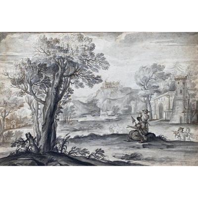 Ecole Flamande XVIIIème Dessin Lavis Paysage