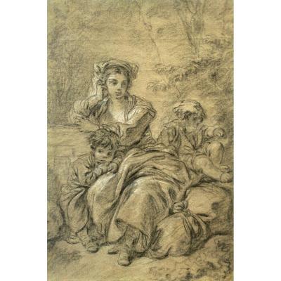 François Boucher (1703 - 1770) - Dessin Femme Et Enfants