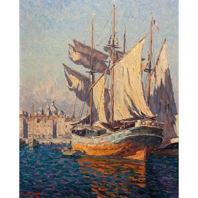 Adrien Hamon Oil On Panel Marseille