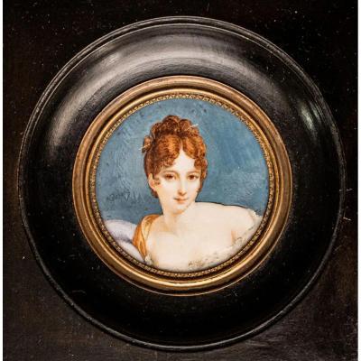 Madame Récamier Miniature Sur Ivoire Claude Charles Gérard