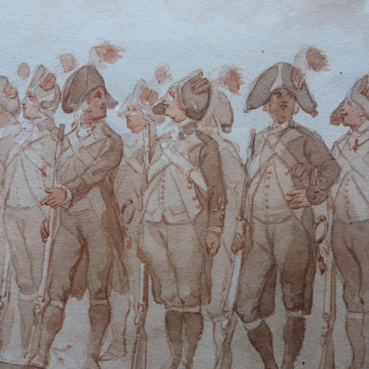 Auguste Doviane (1825-1887), 18th Century Infantry, Watercolor