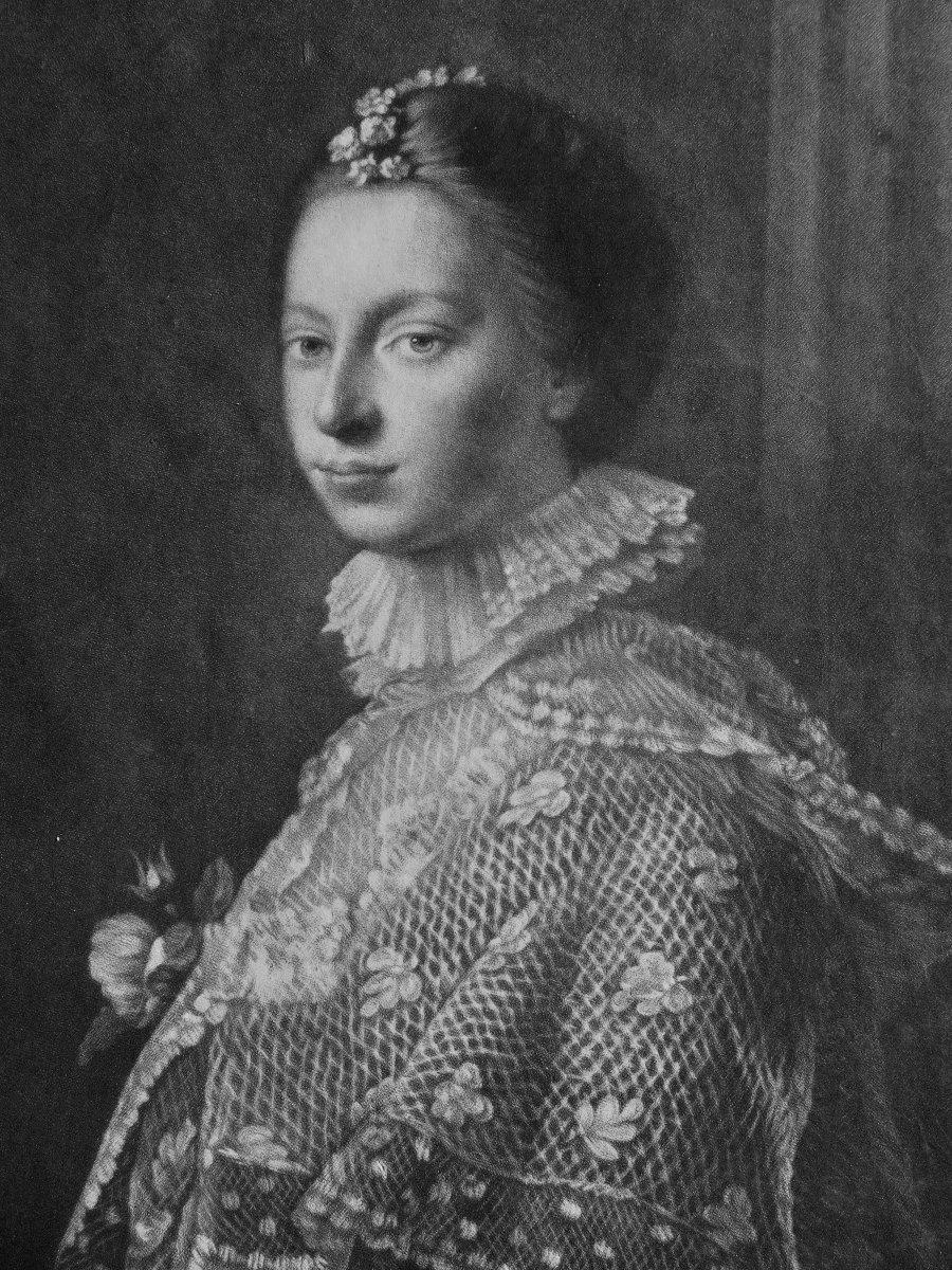 Lady Erskine, rare mezzotinte par James Watson, vers 1759