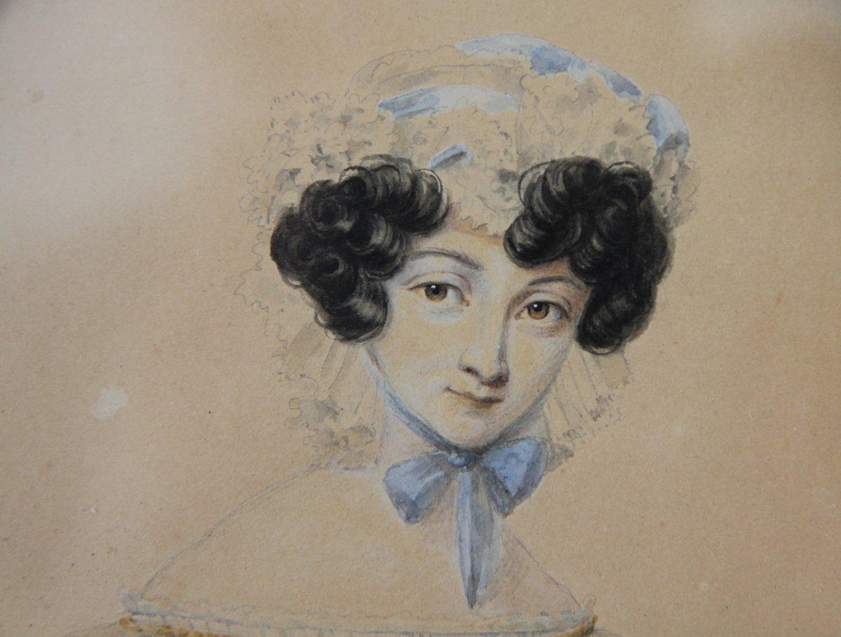 Portrait de jeune femme dans son cadre d'origine, Bruxelles vers 1835