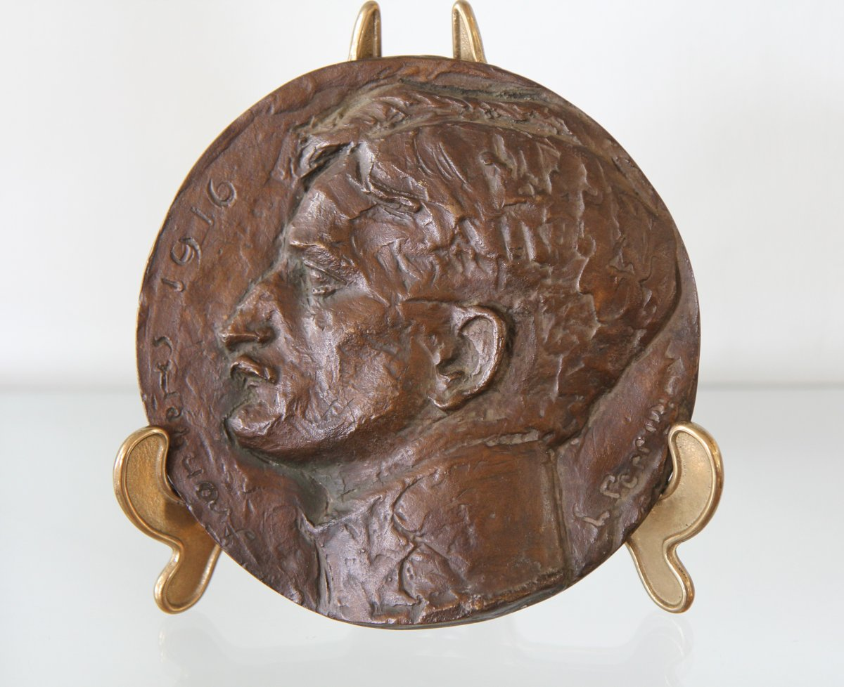 Léon Perrin (1886-1978), Self-portrait To The Armies, Large Bronze Medallion Dated 1916