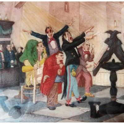 La chorale. Caricature en fixé sous verre vers 1830, signée