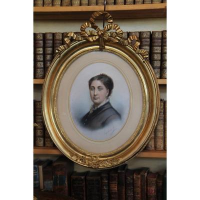 Portrait Of A Woman In Pastel, Signed Eugénie De Landerset, Circa 1860