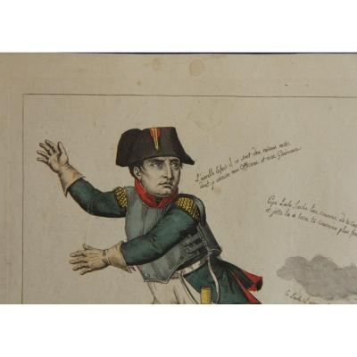 Napoleon At Waterloo. Rare Watercolor Satiric Engraving, August 1815