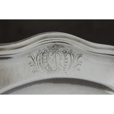Platter In Solid Silver With Arms Of Geneva, Eighteenth Century