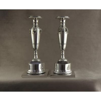 Sterling Silver Candlesticks, Italy, 1st Empire